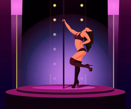 Strip dance flat vector illustration