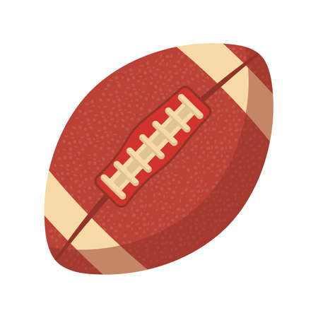 American football ball flat vector illustration. Traditional athletic sport, team competition symbol. Oval shape leather skin object with stitches. Rugby game accessory isolated on white background  イラスト・ベクター素材