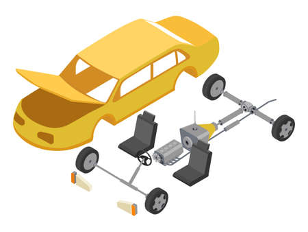 Disassembled car isometric vector illustration