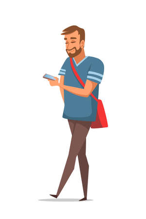 Guy using GPS application flat vector illustration. Smiling young man holding smartphone cartoon character. Tourist planning route with mobile guide app.