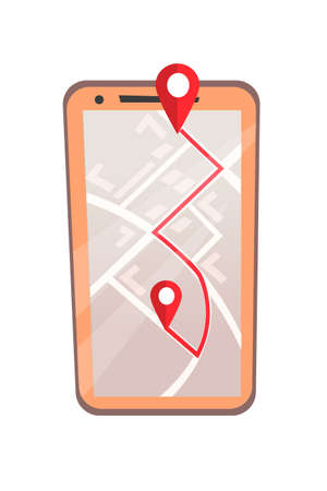Mobile GPS application flat vector illustration. Smart navigation and route planning software, modern technology concept. City map on smartphone screen with location pin marks. Digital travel guide  イラスト・ベクター素材