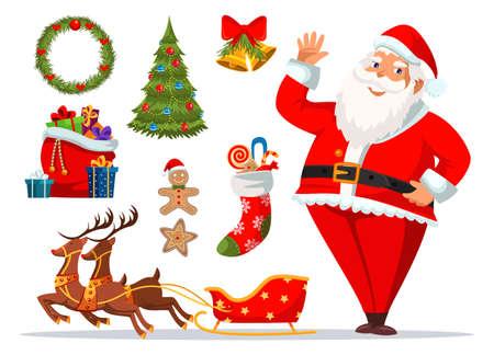 Christmas symbols vector illustrations set Ilustração