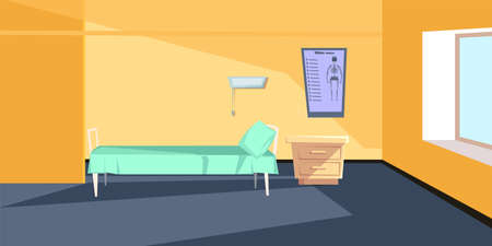 Hospital ward interior flat vector illustration