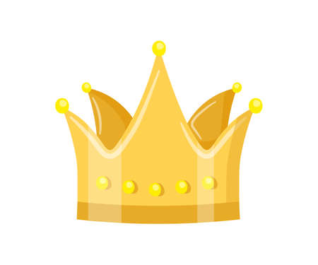 Golden crown flat vector illustration. Royal headdress isolated clipart on white background. Monarch coronation ceremony design element. Masquerade accessory. Emperor, authority symbol