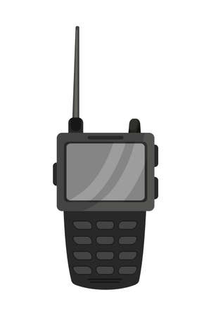 Security walkie talkie flat vector illustration. Portable radio with screen and antenna isolated clipart. Police officer emergency device, communication phone. Equipment for secure bond