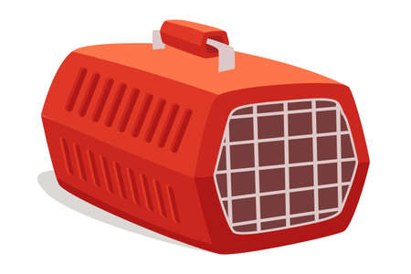 Empty cage, pet carrier flat vector illustration. Portable container with handle for domestic animal transportation. Closed red plastic case isolated on white background. Pet shop, store product