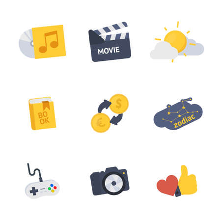 Hobby symbols vector icons set Illustration
