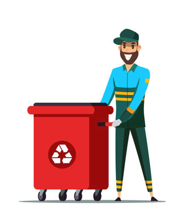 Cheerful garbage man flat vector illustration