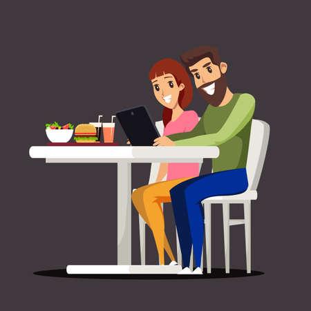 Couple at food court flat vector illustration Ilustração