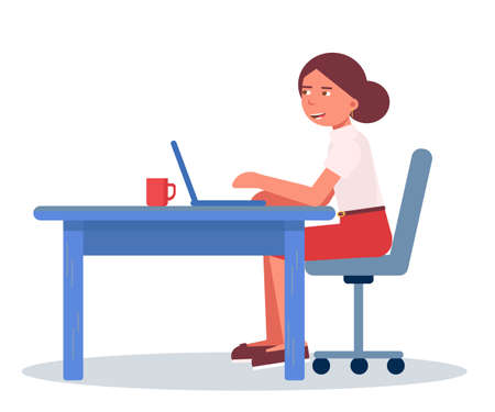 Female office manager flat vector illustration. Young caucasian woman sitting at table and using laptop cartoon character. Corporate worker, secretary workplace isolated clipart on white background