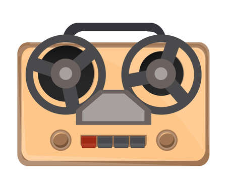 Vintage tape recorder flat vector illustration. Antique analog sound recording device top view. Old fashioned espionage attribute, spy equipment. Retro audio appliance, obsolete technology