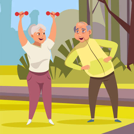 Old couple doing fitness flat vector illustration. Elderly pair, wife and husband in sportswear cartoon characters. Active retirement, healthy lifestyle. Happy seniors do physical exercises outdoors Illustration