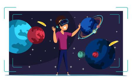 VR space exploration flat vector illustration Vettoriali