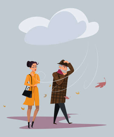 Cold windy weather flat vector illustration