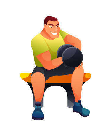 Bodybuilder working out flat vector illustration. Happy sportsman, smiling athlete in sportswear cartoon character. Young man lifting dumbbell, arms muscle training. Healthy lifestyle, workout