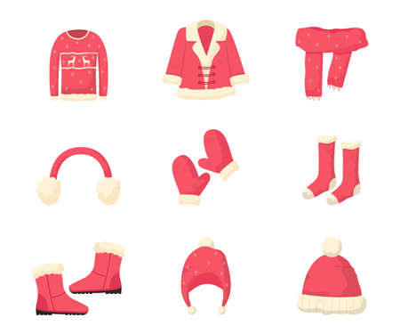 Winter clothes flat vector illustrations set. Knitted sweater, santa coat and scarf. Christmas themed garments. Apparel store products. Mittens, warm footwear and headwear. Cold weather protection