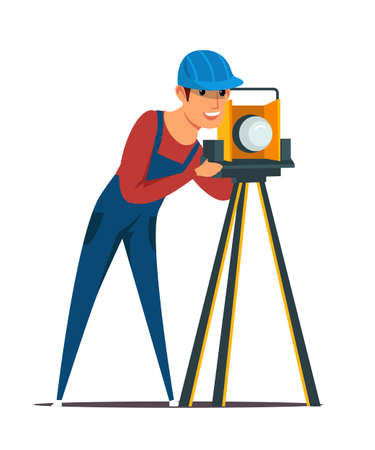 Construction surveyor flat vector illustration