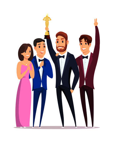 Movie award win ceremony flat vector illustration