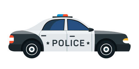 Police car flat vector illustration. 911, emergency service department vehicle isolated clipart on white background. Cop, police officer auto, policeman patrol automobile design element