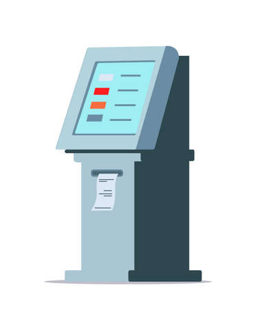 ATM flat vector illustration. Automated teller machine isolated clipart on white background. Money withdrawal, transfer and transaction system design element. Banking service drawing