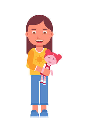Girl holding toy flat vector illustration. Smiling little child and princess doll cartoon character. Primary school, elementary grade, kindergarten pupil. Happy childhood activity, playtime