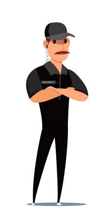 Security guard, staff flat vector illustration. Male worker in uniform with earphone cartoon character. Adult man standing with crossed arms. Authority, professional safety service, law protection