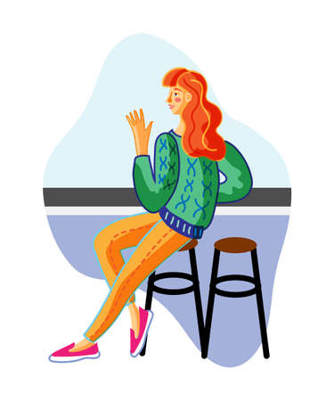Young woman in bar flat vector illustration. Smiling redhead lady sitting in chair cartoon character. Coffee house, cafe customer making order. Night club recreation, leisure design element