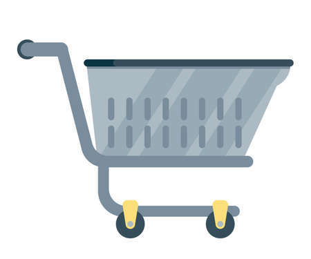Shopping cart flat vector illustration. Empty store trolley with red wheels. Supermarket, grocery self service equipment. Black metal cart. Purchase, market, commerce banner, poster design element  イラスト・ベクター素材