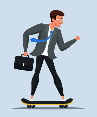 Businessman riding scateboard vector illustration. Employee, office manager on board isolated. Corporate worker on urban transport cartoon character. Man in formal suit
