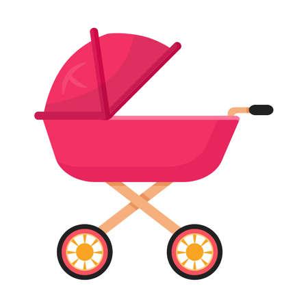 Baby carriage, pram flat vector illustration