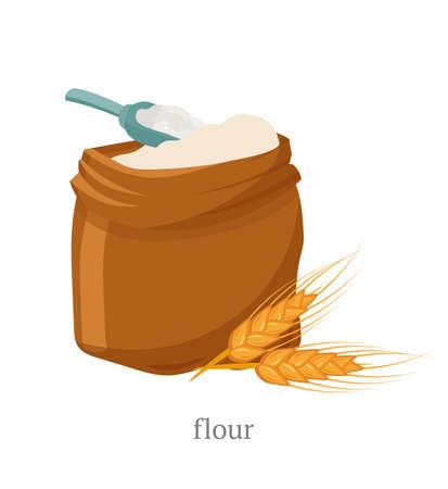 Flache Vektorillustration des Vollkornmehls. Offener Sack mit weißem Pulver, Holzschaufel und Weizenährchenzusammensetzung. Naturprodukt, Bio-Gebäck, Teigzutat. Bäckerei, Backhaussymbol