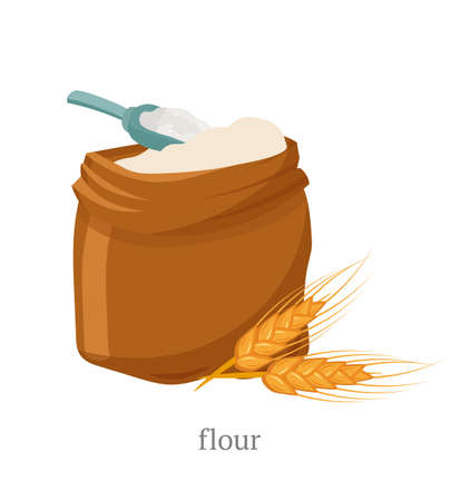 Illustration vectorielle plane de farine complète. Sac ouvert avec poudre blanche, cuillère en bois et composition d'épillets de blé. Produit naturel, pâtisserie biologique, ingrédient de la pâte. Boulangerie, symbole du fournil