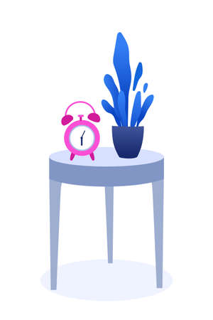 Watch and plant on table flat vector illustration. Old fashioned alarm clock and decorative houseplant with blue foliage on wooden coffee table. Bedroom, apartment interior decor design element  イラスト・ベクター素材