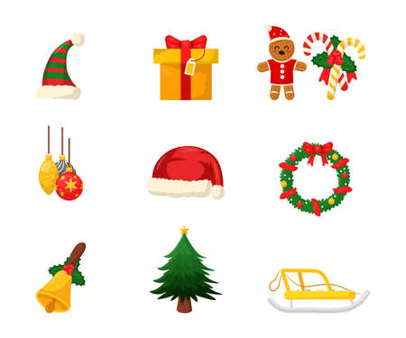 New Year decorations flat vector illustrations set. Gift box, santas hat, christmas tree, wreath, sled stickers pack. Xmas celebration items, winter holiday isolated cliparts collection