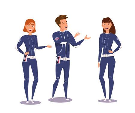 Space explorers group flat vector illustration. Happy young man and women in uniform cartoon characters. Male and female astronauts, futuristic scientists. Friends talk, colleagues conversation