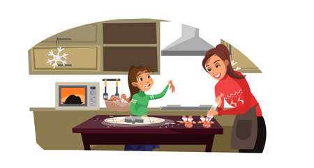 Mother with kid cooking flat vector illustration. Cooking workshop. Culinary kids classes. Daughter helping to make cookie in kitchen. Parent with child cartoon characters  イラスト・ベクター素材