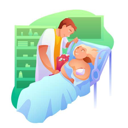 Woman after giving birth flat vector illustration. Husband visiting wife with flowers cartoon characters. Happy parents, family with newborn baby. Woman after labour in hospital, childbirth