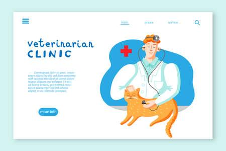 Veterinarian clinic landing page layout. Cat in veterinary office flat vector illustration Ilustração
