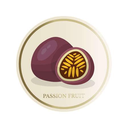 Passion fruit flat circle sticker isolated on white background