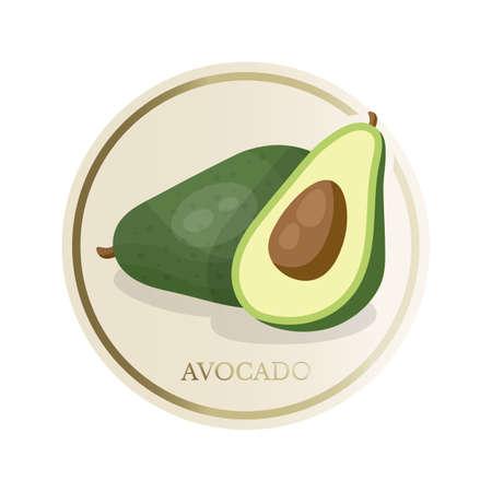Avocado flat circle sticker isolated on white background
