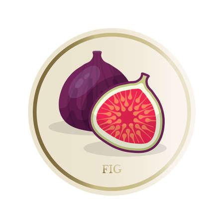 Fig flat circle sticker isolated on white background
