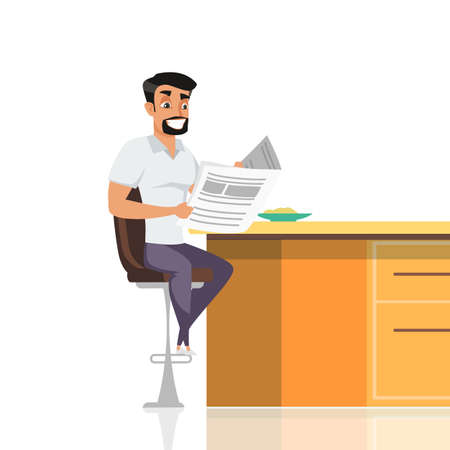Man eating breakfast flat vector illustration. Guy reading morning newspapers. Healthy food on plate. Boyfriend, father, husband cartoon character. Happy office worker starting day