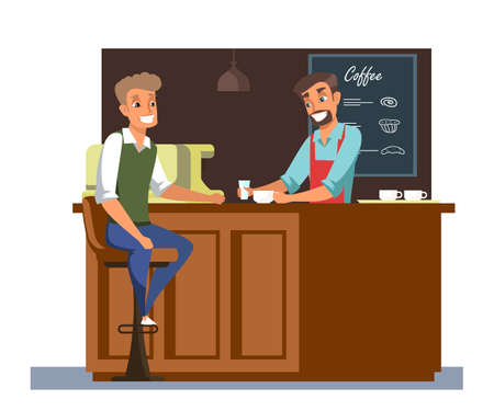 Coffee break, lunch flat vector illustration isolated on white background