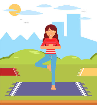 Home yoga, pilates isometric vector illustration