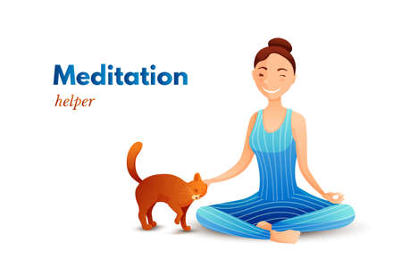 Young girl in yoga lotus pose flat illustration Ilustração