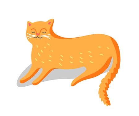 Red cat vector character isolated on white background