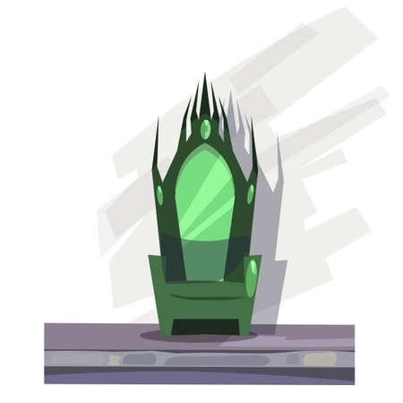 Fairy tale throne flat vector illustration