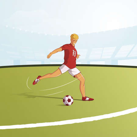 Football player flat vector illustration. Footballer kicking ball on pitch cartoon character. Football stadium background. Smiling soccer player in red and white uniform plays on field
