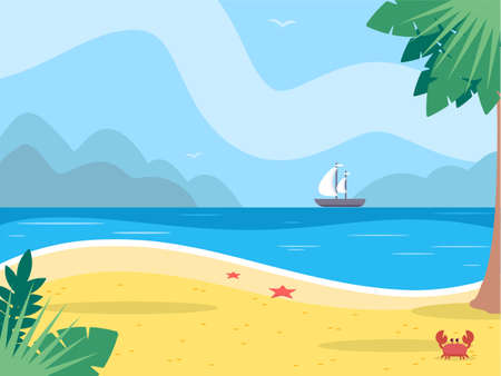Tropical island flat vector color illustration