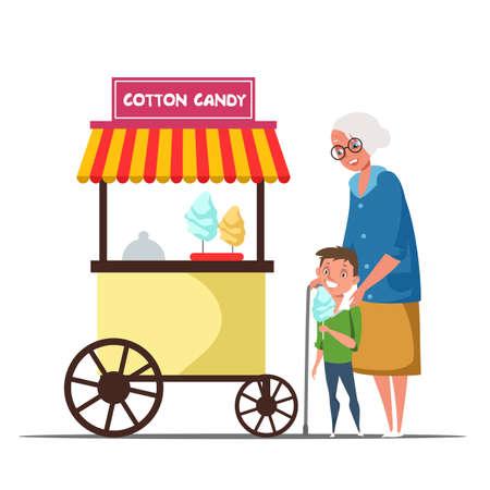 Senior and kid at cotton candy kiosk illustration